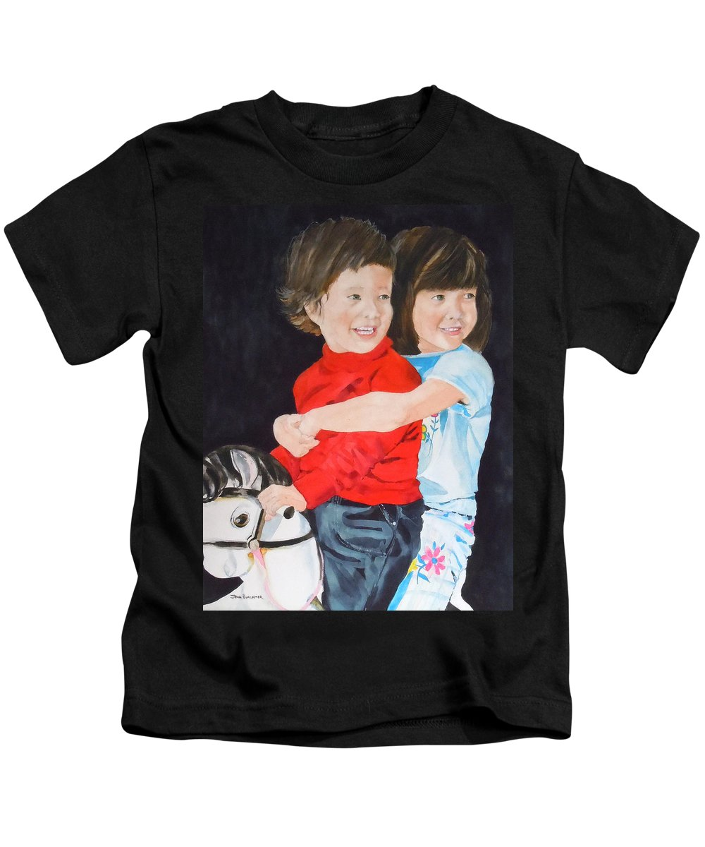 Horse Kids T-Shirt featuring the painting Rocking Away by Jean Blackmer