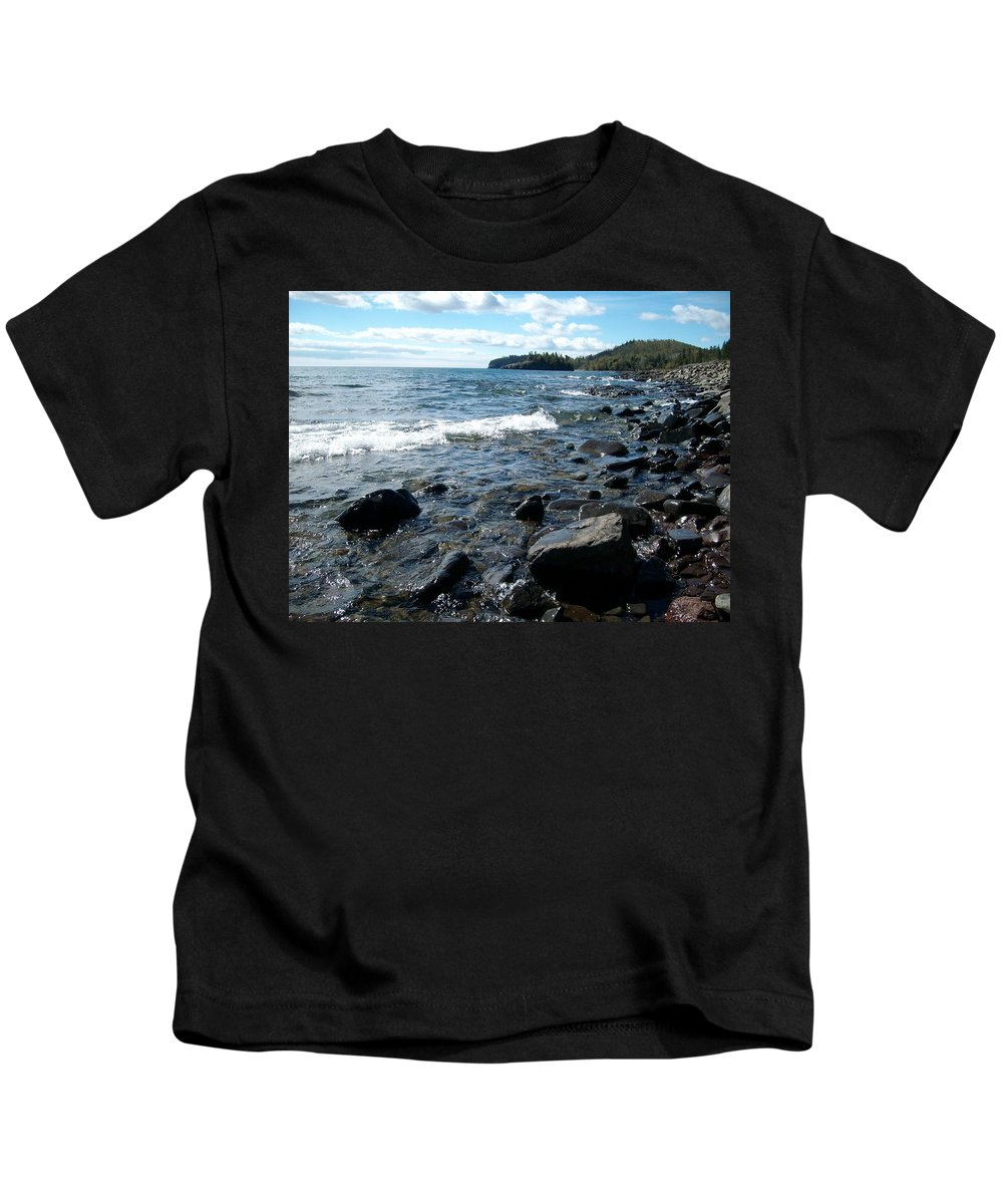 Rocks Kids T-Shirt featuring the photograph Rocky Shores Of Superior by Joshua Thompson