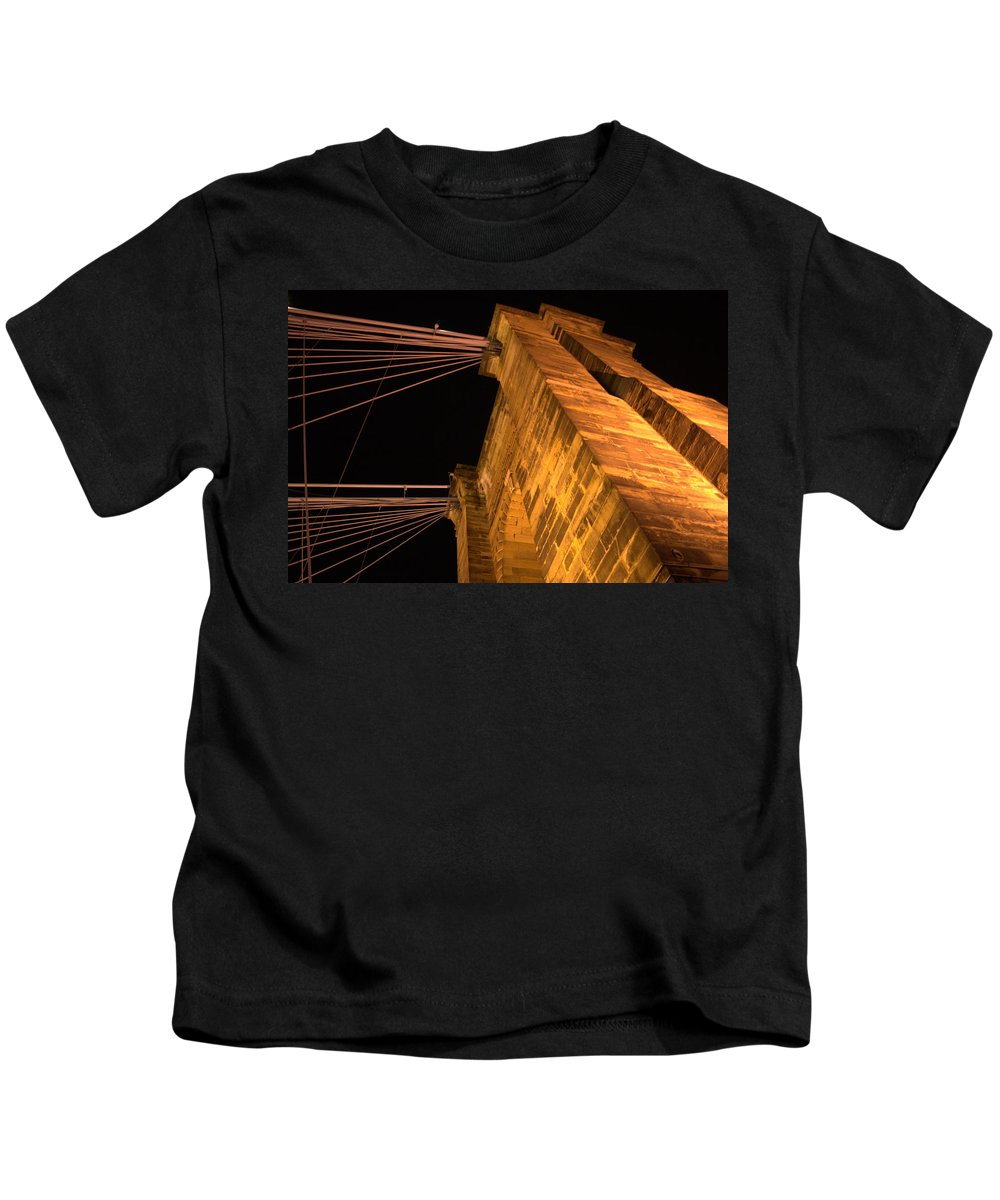 Bridge Kids T-Shirt featuring the photograph Roebling Tower I by Artistic Explorer Creations By Gregg L Walker
