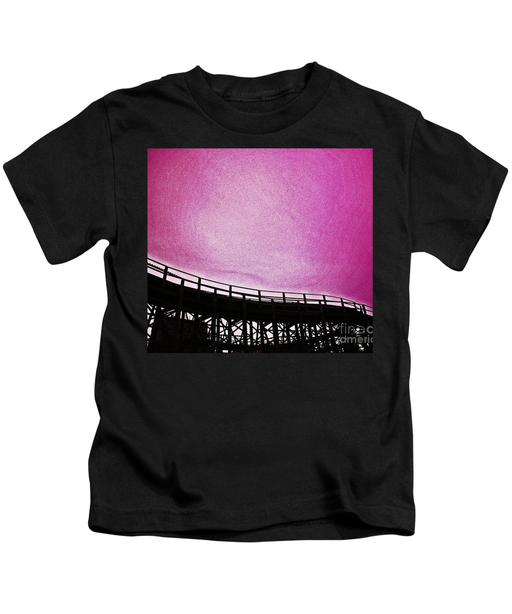 Rollercoaster Kids T-Shirt featuring the photograph Rollercoaster In Pink by Andy Prendy
