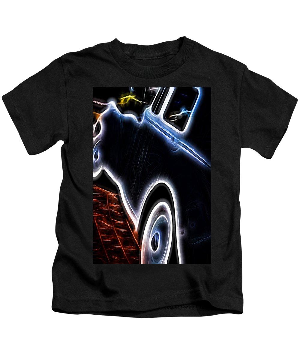 Rolls Royce Kids T-Shirt featuring the digital art Rolls Royce In Black by Cathy Anderson
