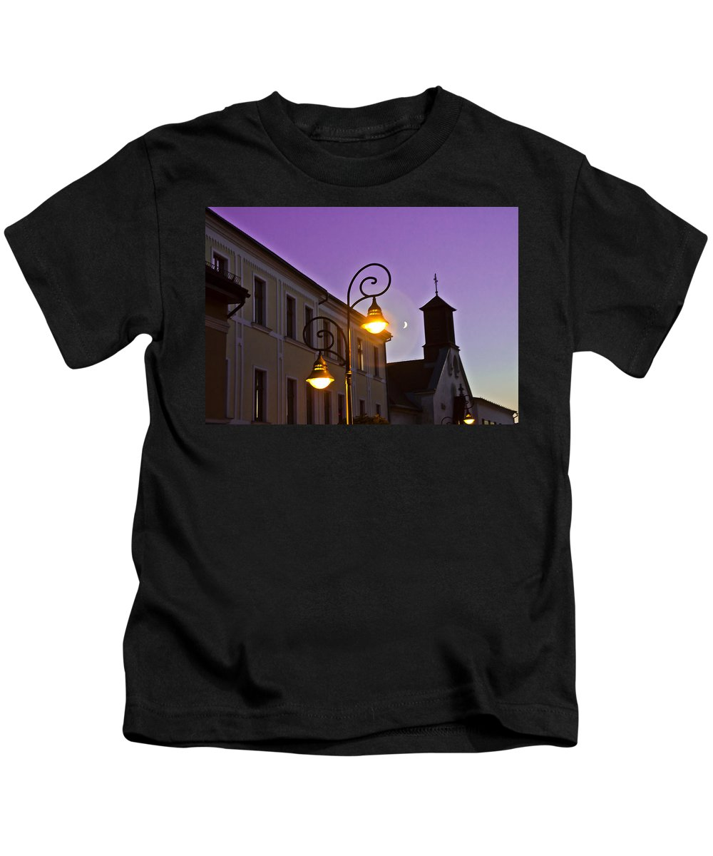 Lamp Kids T-Shirt featuring the photograph Romantic Nights by Alex Art and Photo