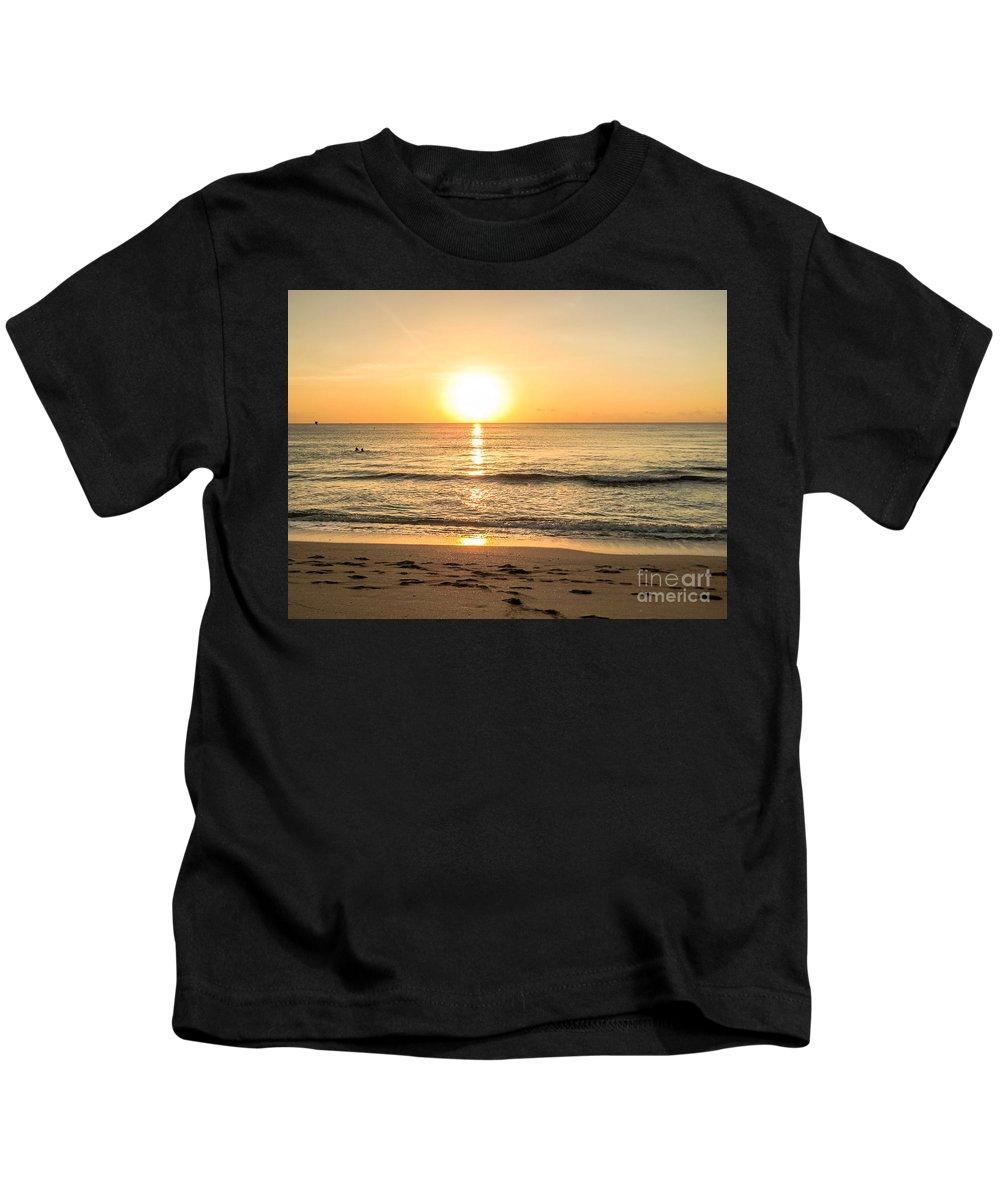 Romantic Kids T-Shirt featuring the photograph Romantic Ocean Swim At Sunrise by Zina Stromberg