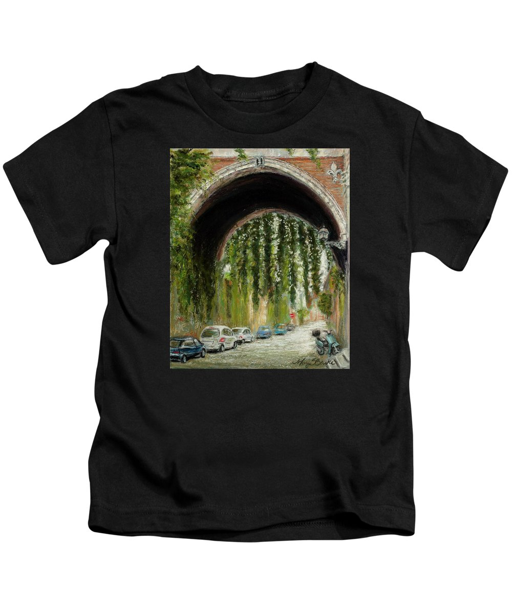 Pastel Kids T-Shirt featuring the painting Rome Street Scene by Mary Benke