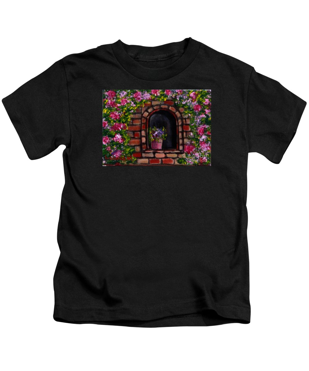 Rose Kids T-Shirt featuring the painting Rosary by Laurie Morgan