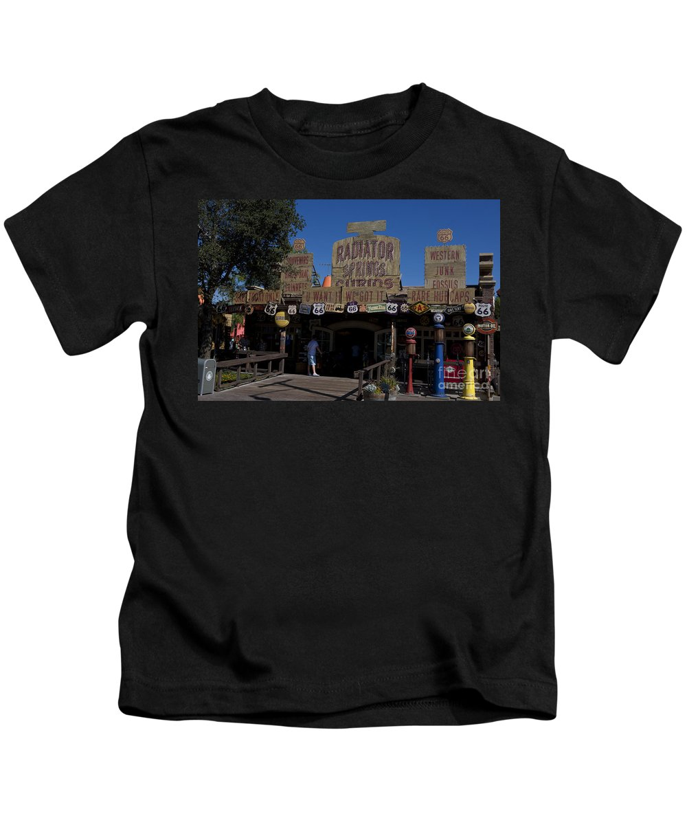 Route 66 Kids T-Shirt featuring the photograph Route 66 Gift Shop Disneyland by Jason O Watson