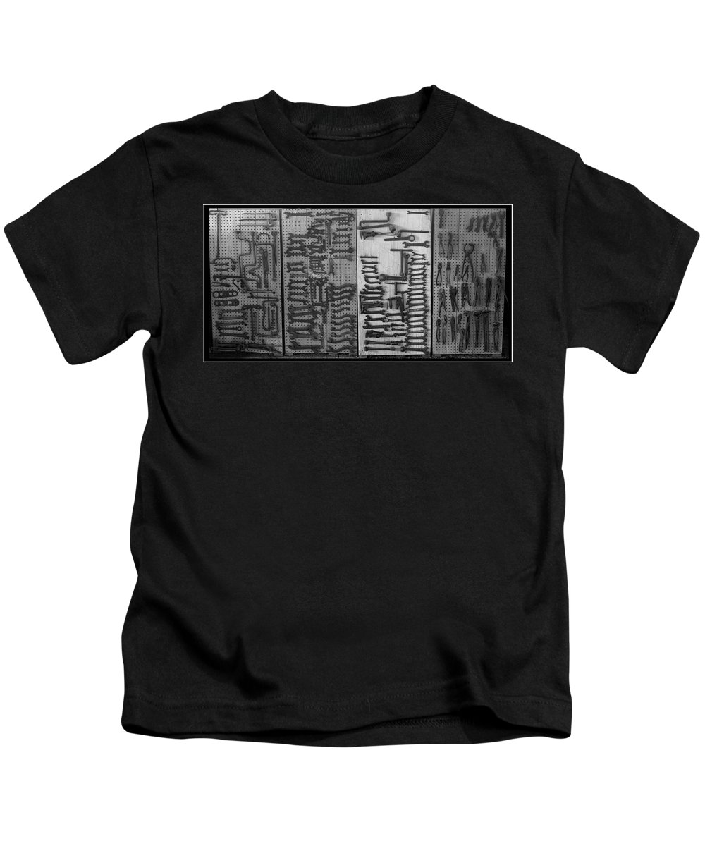 Black And White Kids T-Shirt featuring the photograph Route 66 Odell Il Gas Station Tools Black And White by Thomas Woolworth