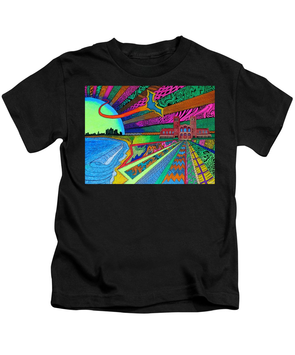 Royce Hall Kids T-Shirt featuring the painting Royce by Sam Bernal