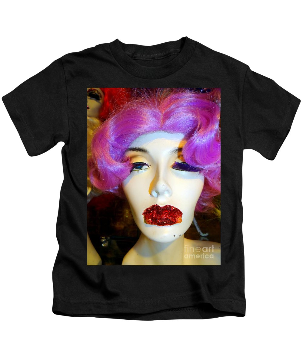Mannequins Kids T-Shirt featuring the photograph Ruby Red Lips by Ed Weidman