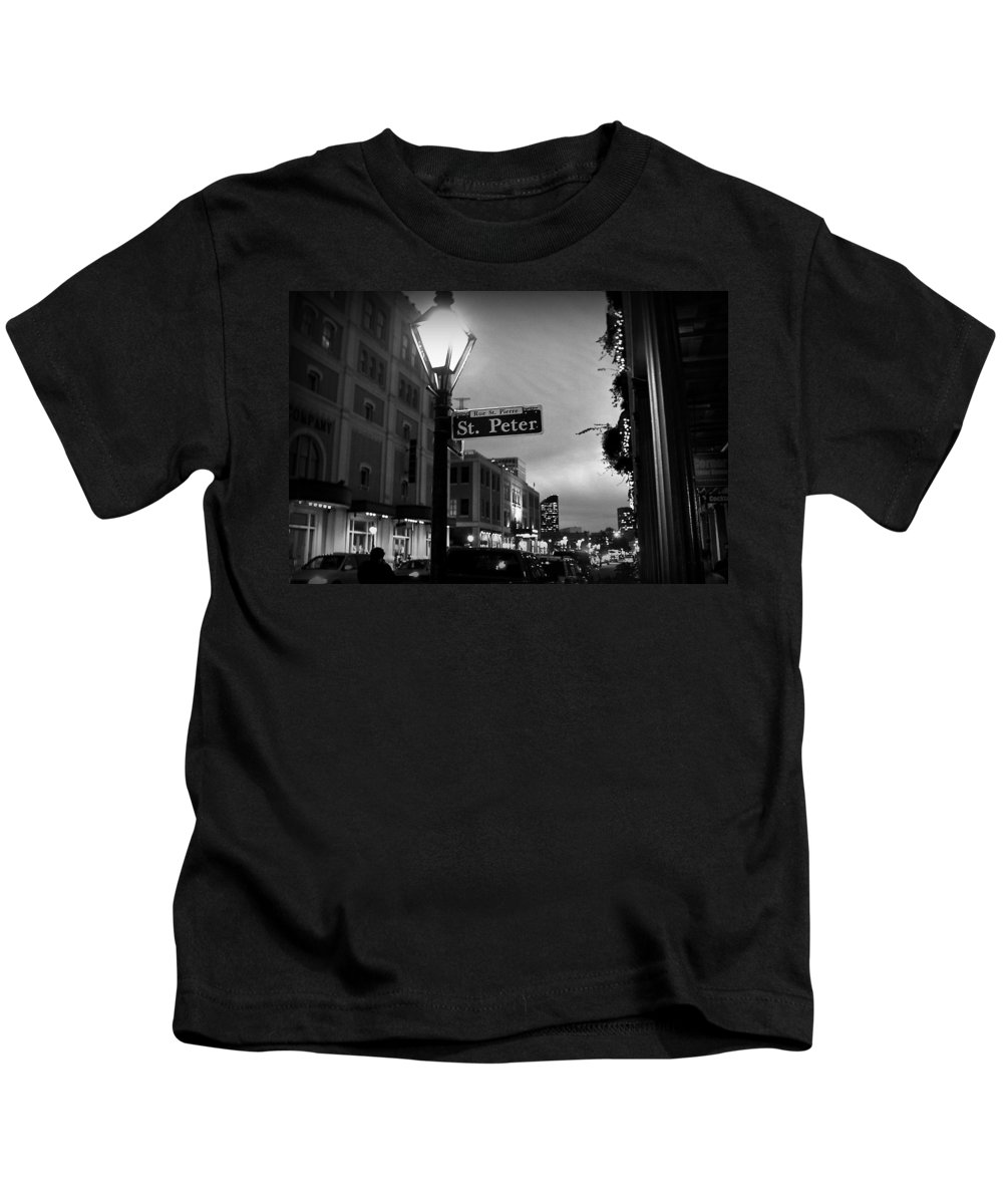 Black & White Kids T-Shirt featuring the photograph Rue St. Pierre by Scott Pellegrin
