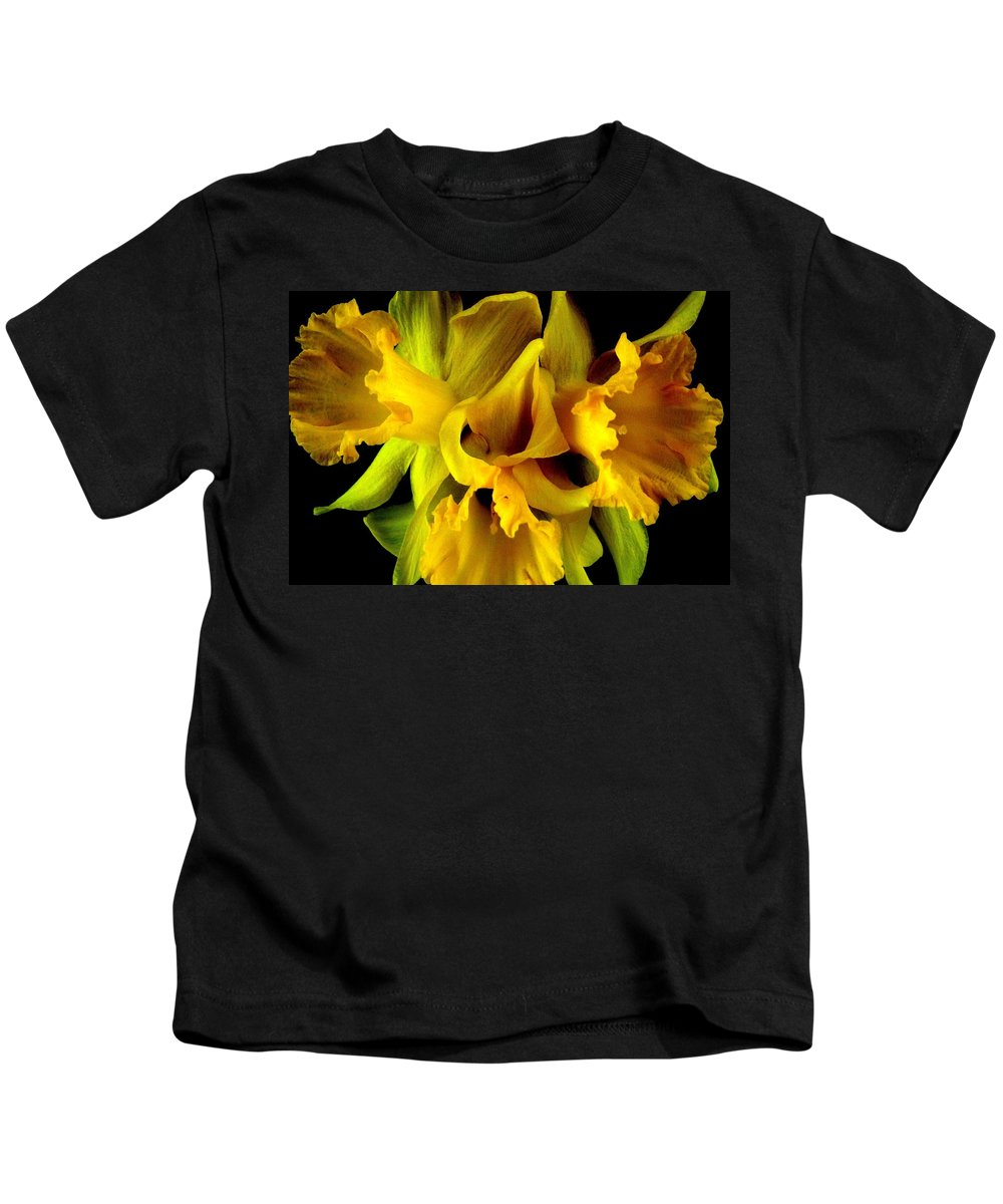 Flower Kids T-Shirt featuring the photograph Ruffled Daffodils by Marianne Dow