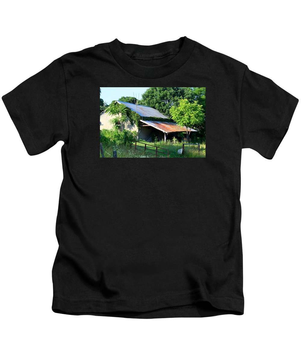 Garage Kids T-Shirt featuring the photograph Ruins Of Old Garage by Kathryn Meyer
