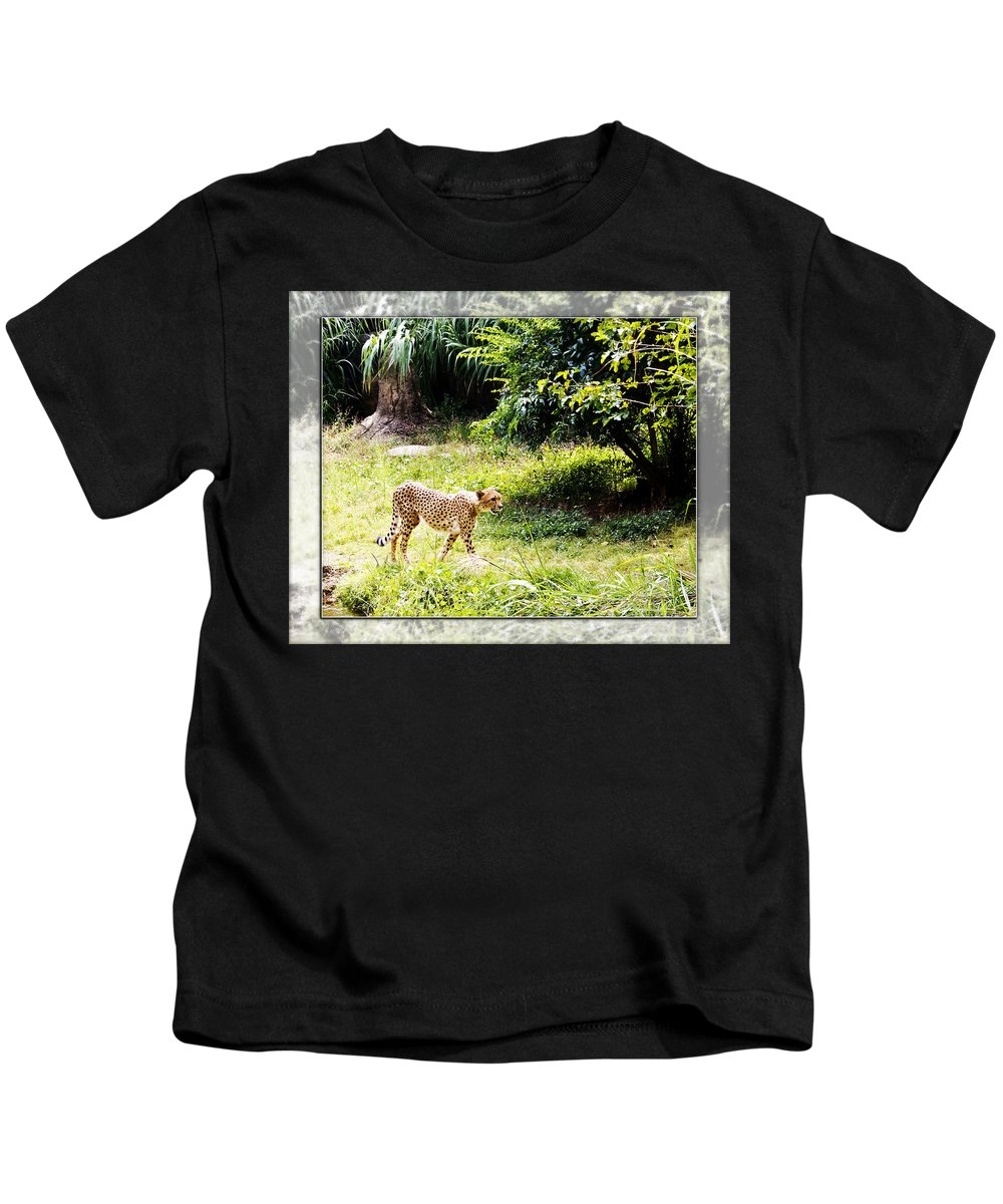 Cheetah Kids T-Shirt featuring the photograph Run Cheetah Run 0 To 60 In 3 Seconds by Walter Herrit