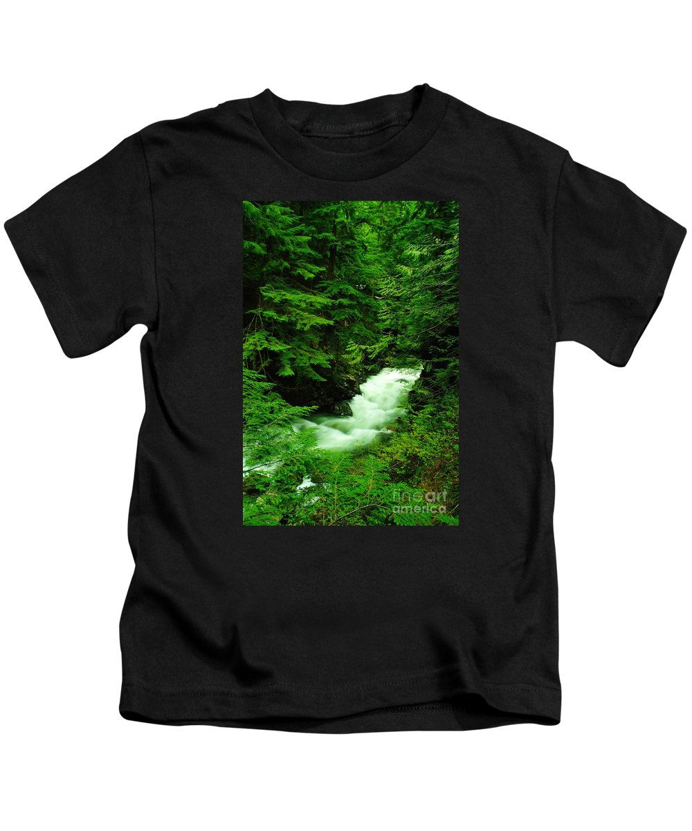 Water Kids T-Shirt featuring the photograph Running Through The Forest by Jeff Swan