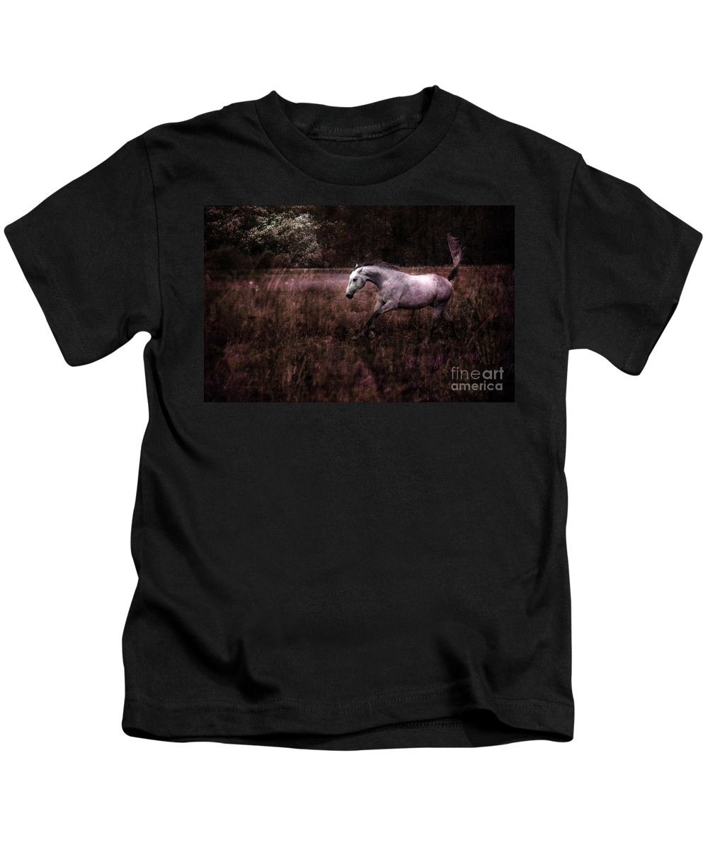Grey Horse Kids T-Shirt featuring the photograph Running Through The Purple World by Angel Ciesniarska