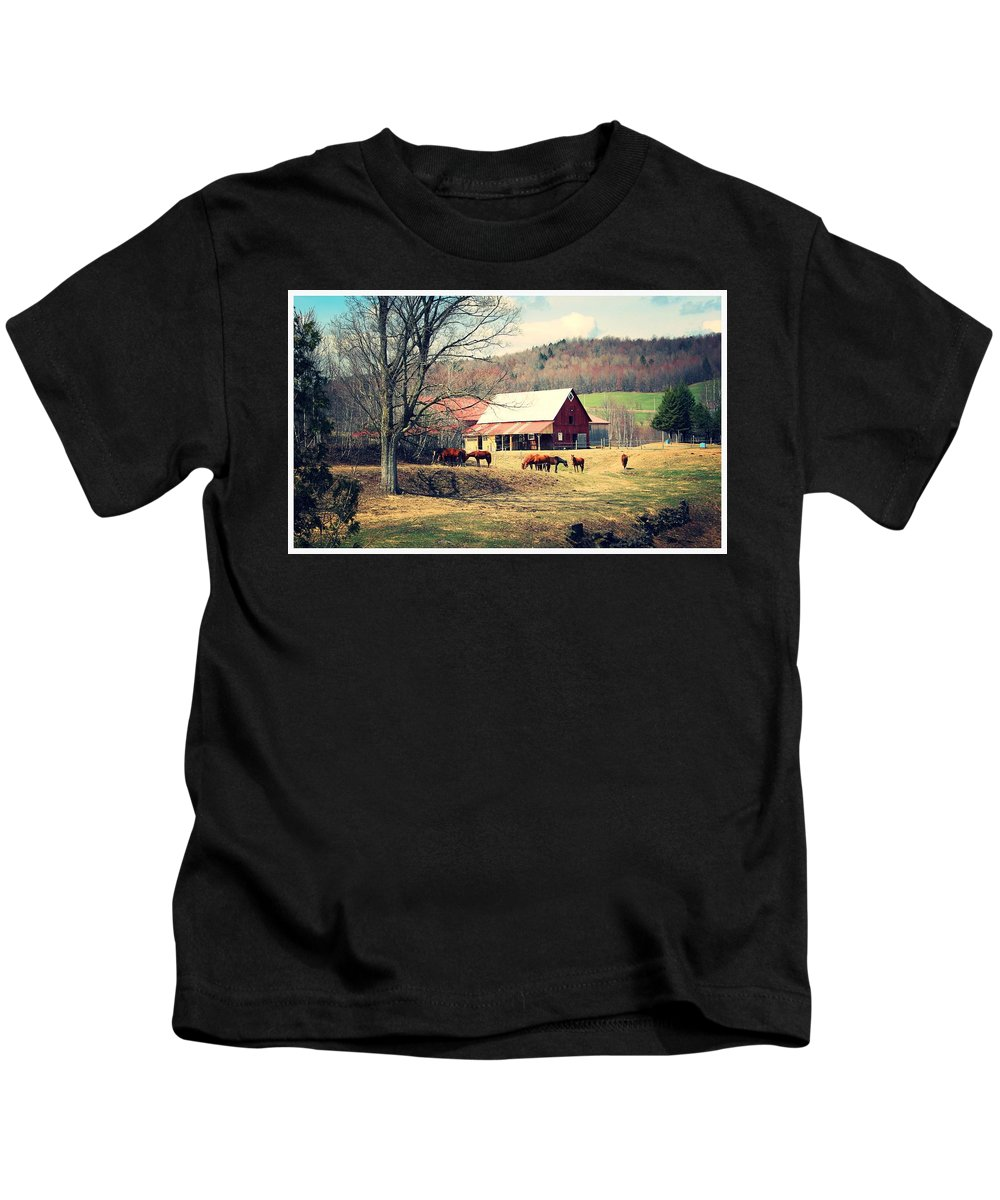 Horse Kids T-Shirt featuring the photograph Ruralscape by Dominic Labbe