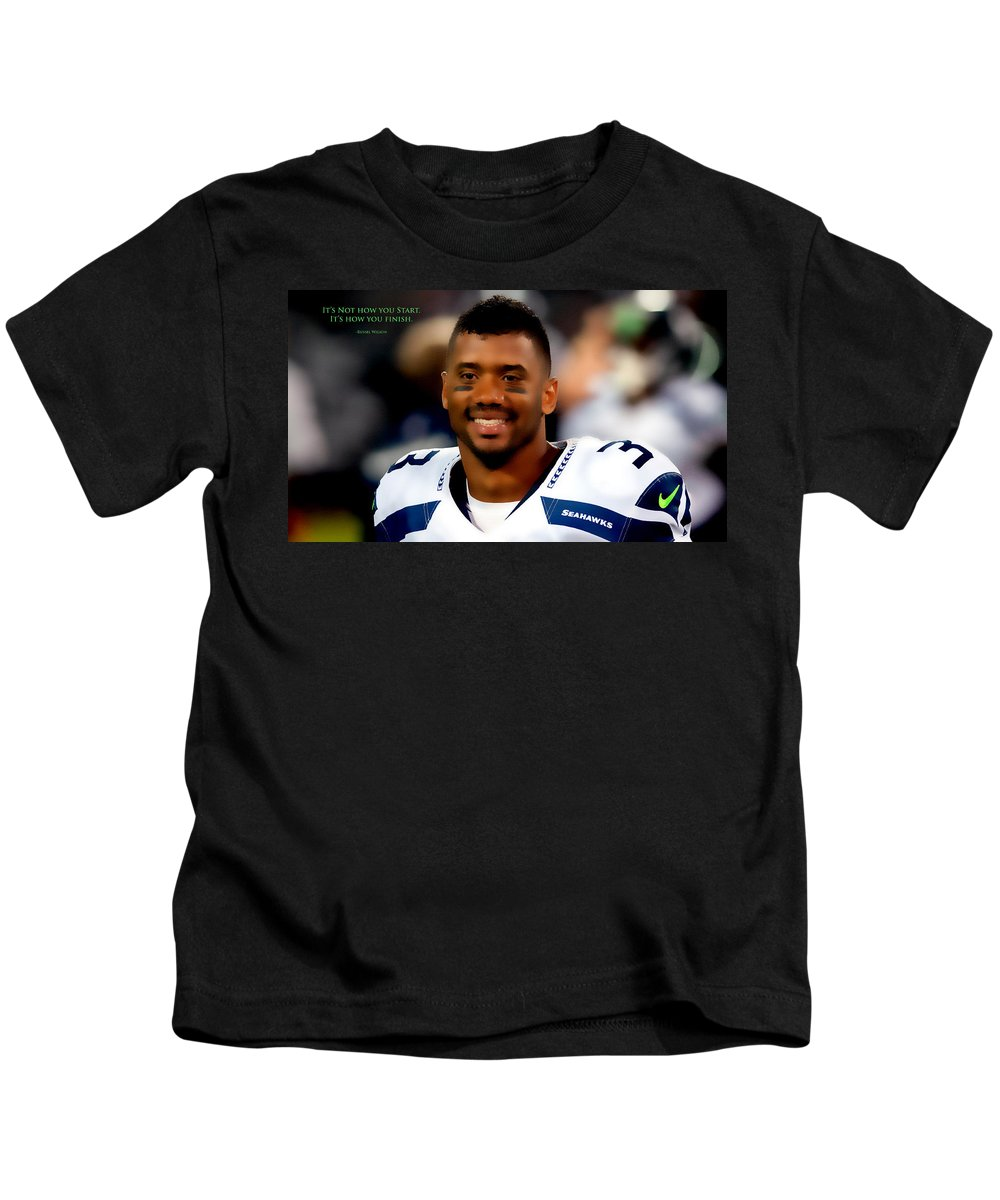 Russell Wilson Kids T-Shirt featuring the digital art Russell Wilson Quote by Brian Reaves