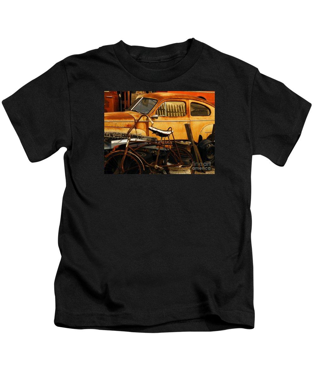 Junkyard Kids T-Shirt featuring the photograph Rust Race by Joe Pratt
