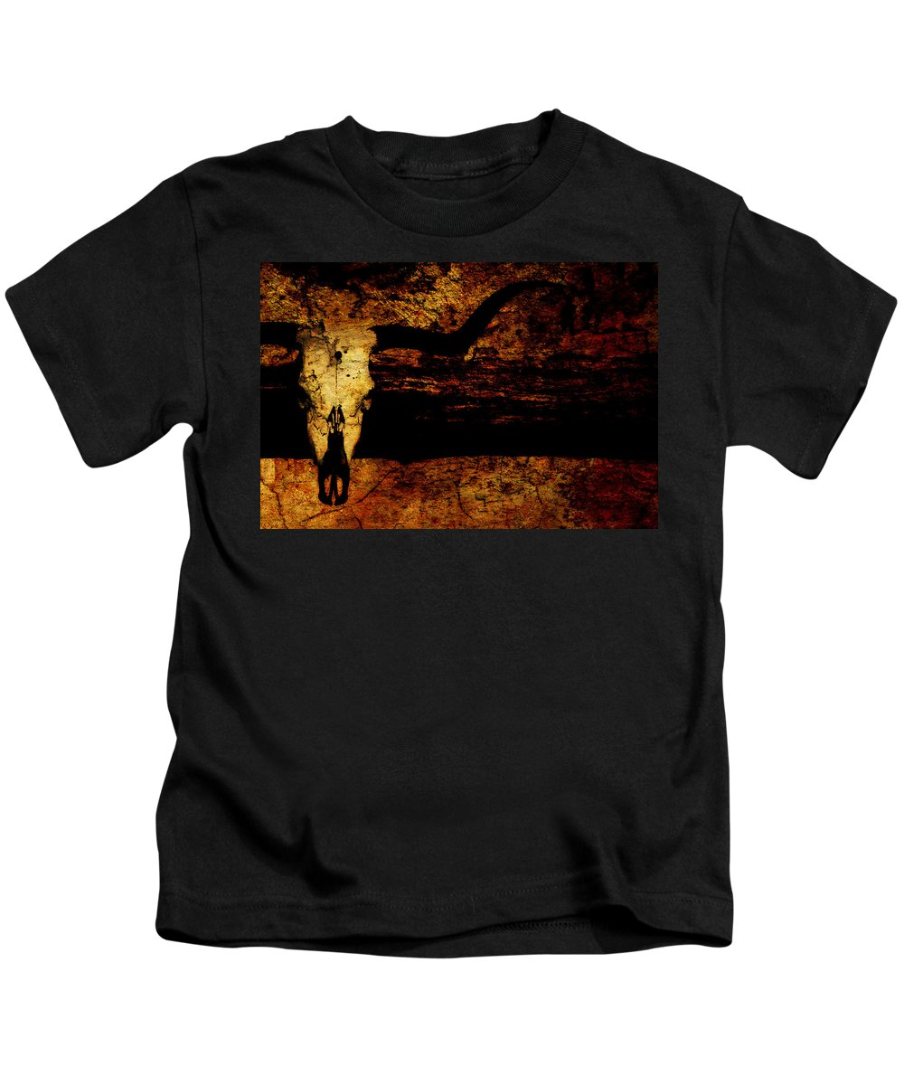Mounted Steer Skull Kids T-Shirt featuring the photograph Rustic Steer by Chastity Hoff