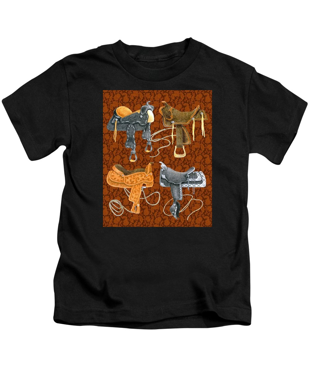 Saddle Kids T-Shirt featuring the digital art Saddle Leather by Alison Stein
