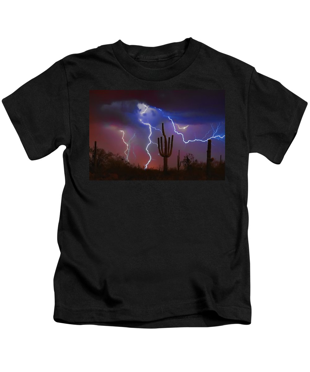Saguaro Kids T-Shirt featuring the photograph Saguaro Lightning Nature Fine Art Photograph by James BO Insogna