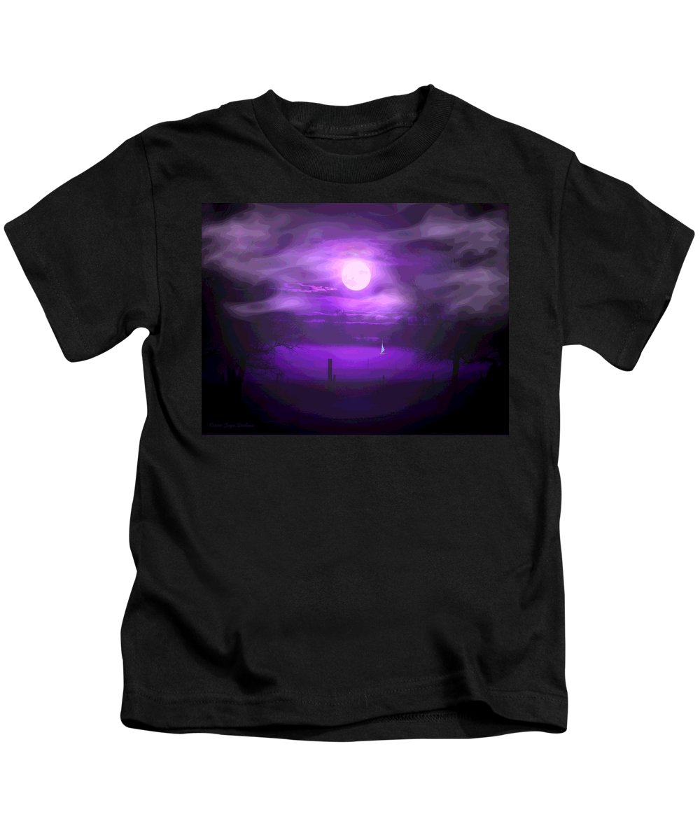 Moon Kids T-Shirt featuring the photograph Sailing In The Moonlight by Joyce Dickens