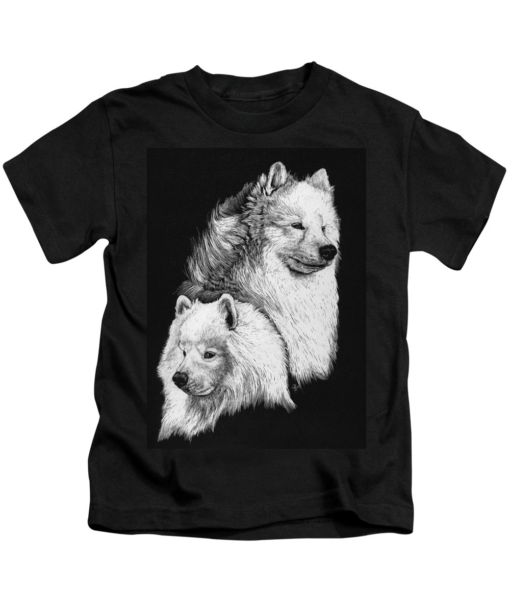 Samoyed Kids T-Shirt featuring the drawing Samoyed by Rachel Hames