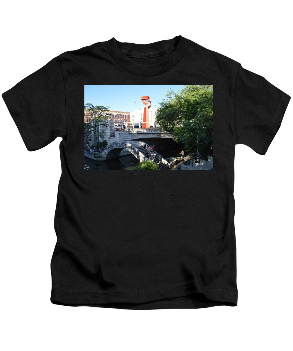 Architecture Kids T-Shirt featuring the painting San Antonio River 01 by Shawn Marlow