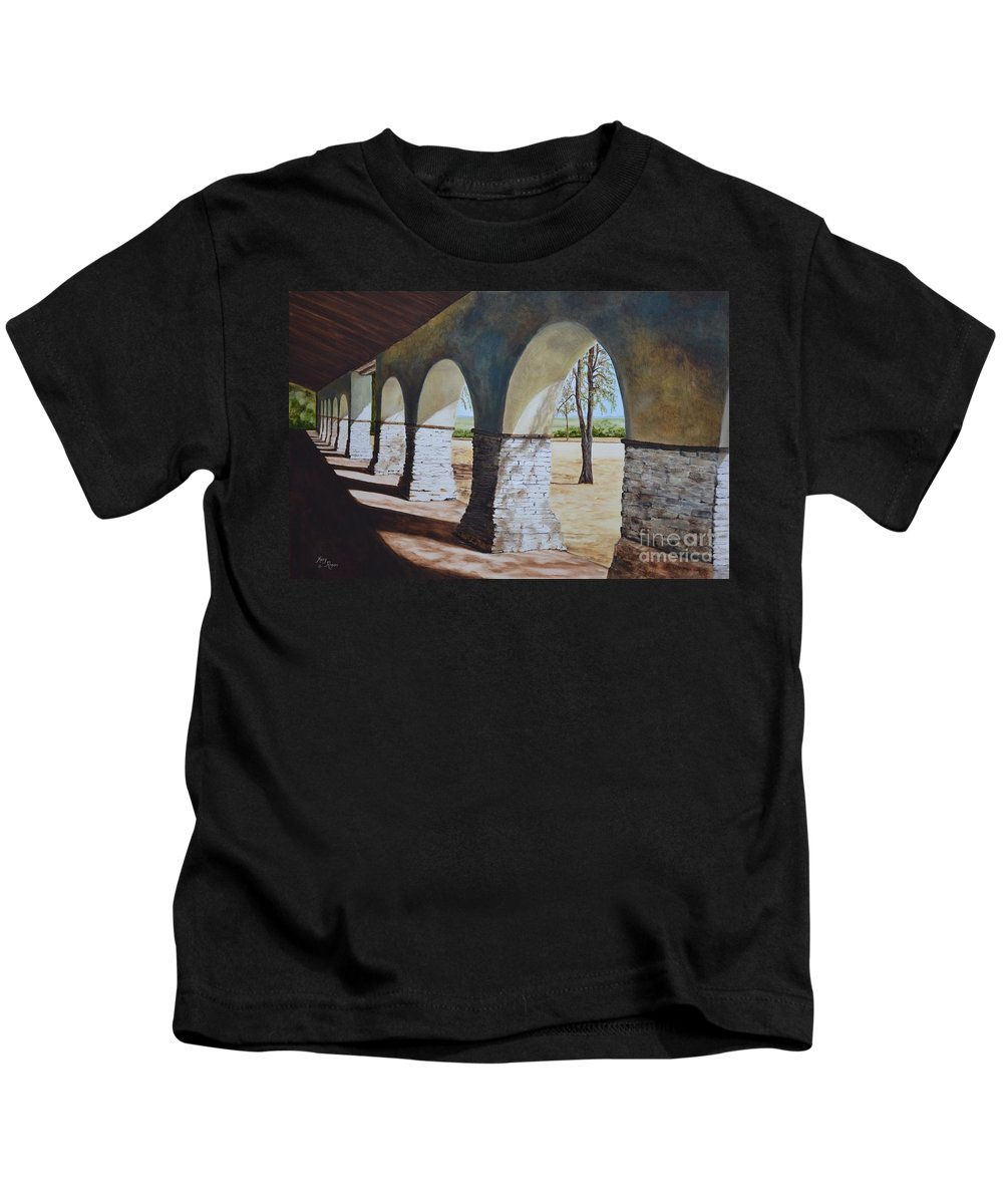California Landmark Kids T-Shirt featuring the painting San Juan Bautista Mission by Mary Rogers