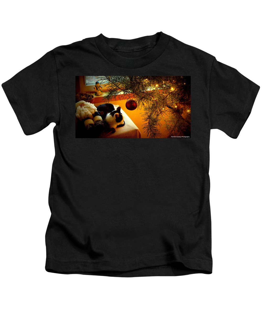 Christmas Kids T-Shirt featuring the photograph Santa And The Cat by Daniel Jakus