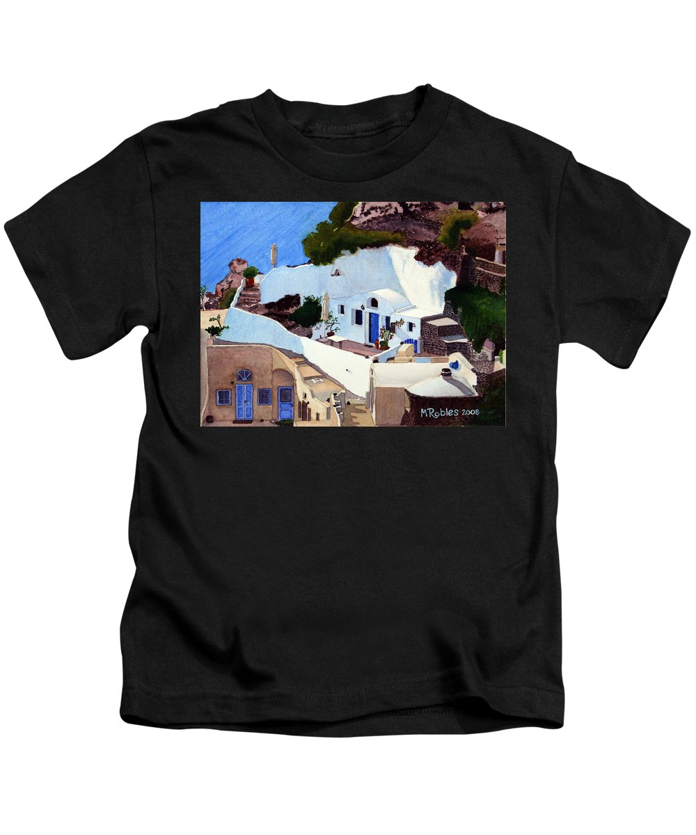 Santorini Kids T-Shirt featuring the painting Santorini Cave Homes by Mike Robles