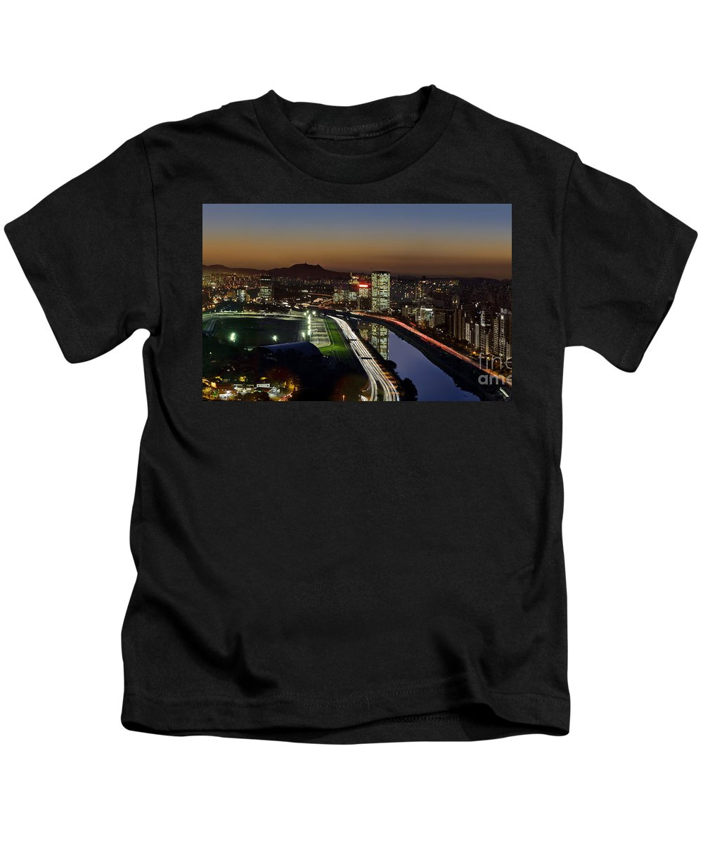 Sao Paulo Kids T-Shirt featuring the photograph Sao Paulo Skyline At Dusk - Jockey Club - Pinheiros River Towards Pico Do Jaragua by Carlos Alkmin