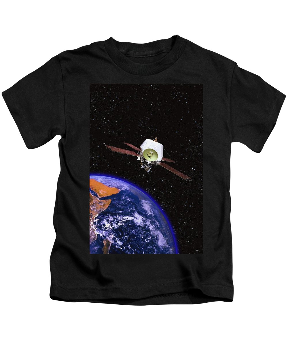 Earth Kids T-Shirt featuring the photograph Satellite Orbiting The Earth by Don Hammond