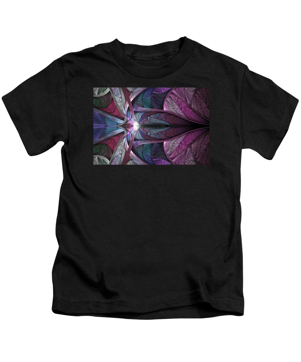 Fractal Kids T-Shirt featuring the digital art Satin Flame by Anne Pearson