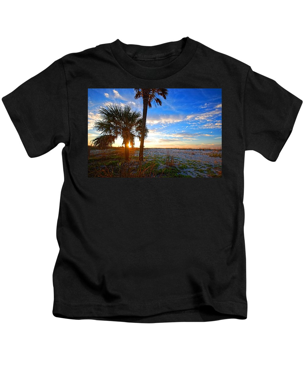 Palm Kids T-Shirt featuring the digital art Saturated Sunrise by Michael Thomas