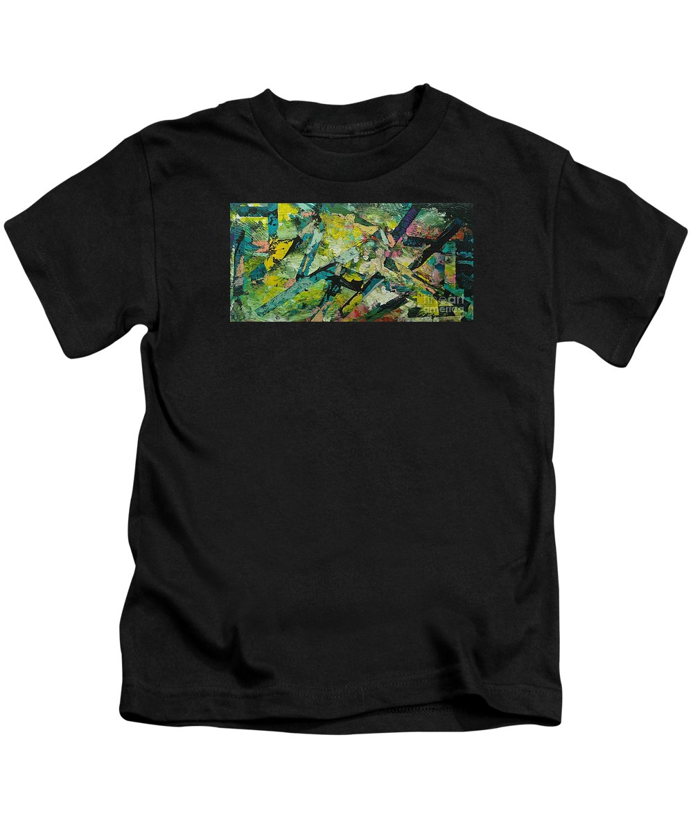 Landscape Kids T-Shirt featuring the painting Saturday Night by Allan P Friedlander