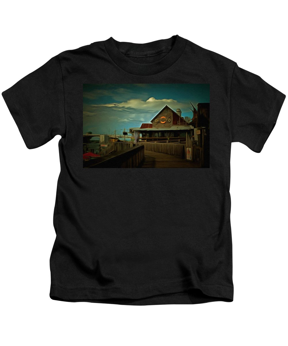 Sculley's Kids T-Shirt featuring the painting Sculley's by L Wright