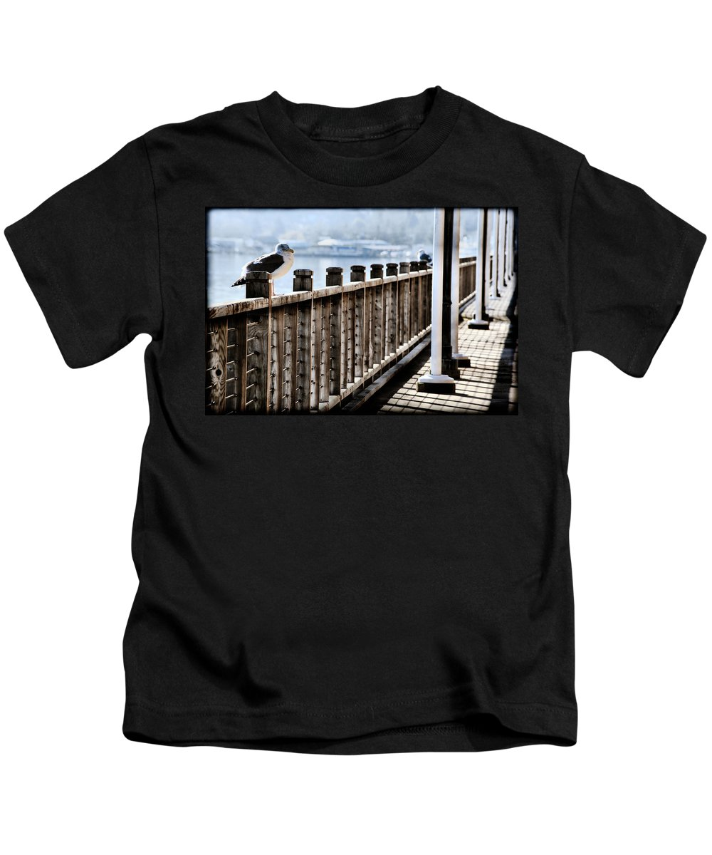 Coos Bay Kids T-Shirt featuring the photograph Seagull On The Boardwalk by Sally Bauer