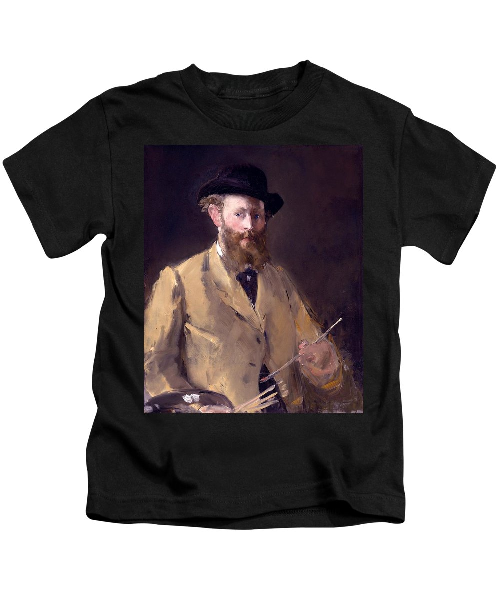 1879 Kids T-Shirt featuring the painting Self Portrait With A Palette by Edouard Manet