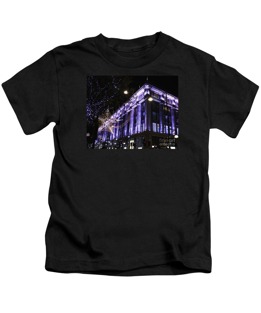 Selfridges Kids T-Shirt featuring the photograph Selfridges London At Christmas Time by Terri Waters