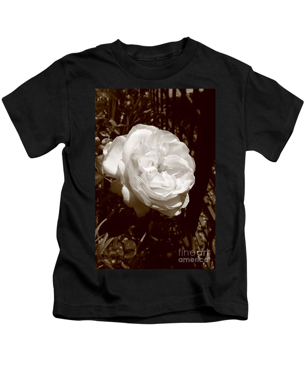 Rose Kids T-Shirt featuring the photograph Sepia Rose by Aidan Moran