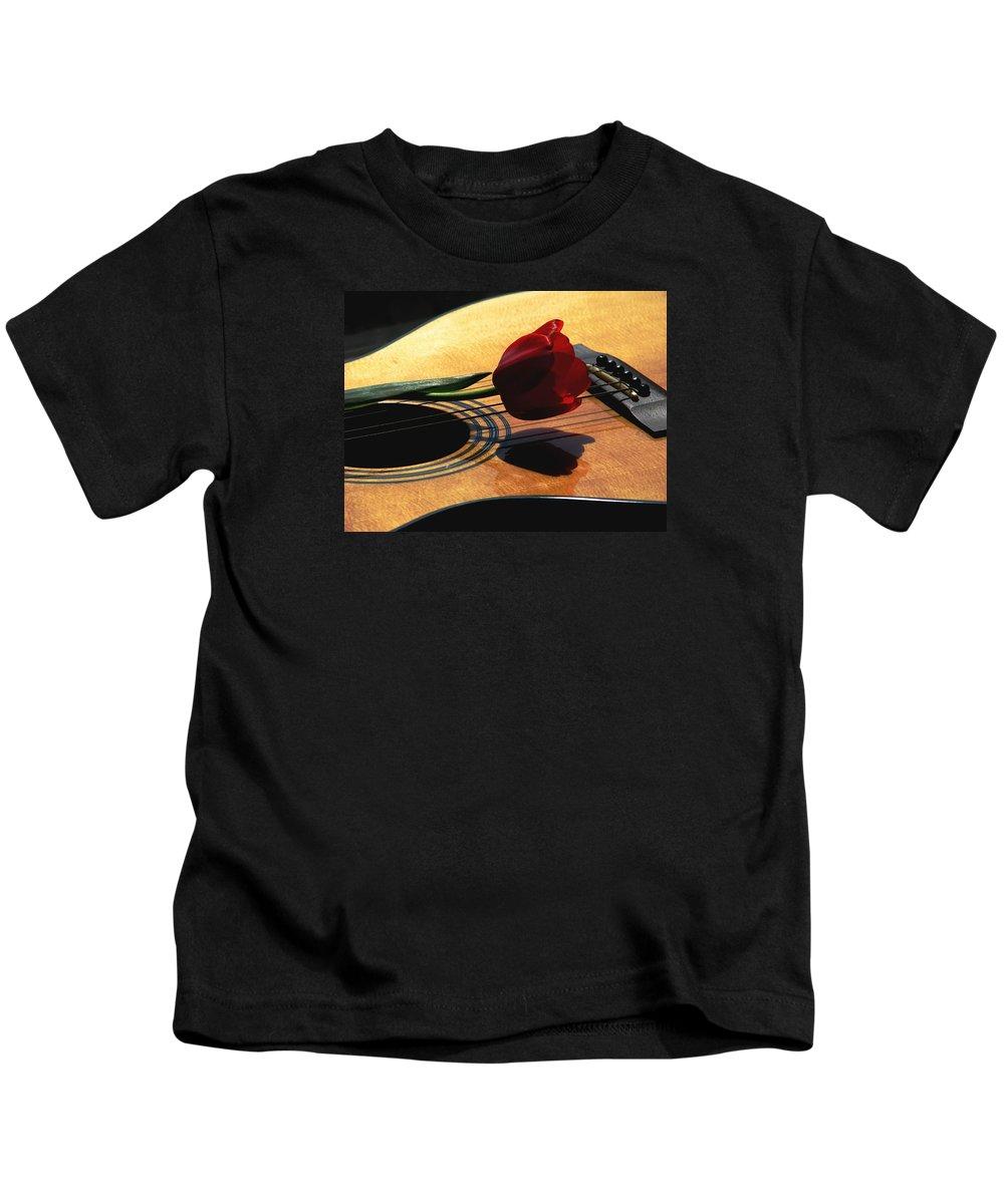 Guitar Kids T-Shirt featuring the photograph Serenade by Angela Davies