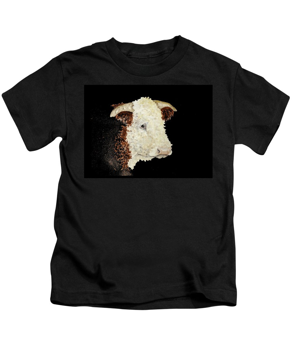 Esthers Prints & Cards Kids T-Shirt featuring the painting Sergeant Major A Hereford Bull by Esther Willsher
