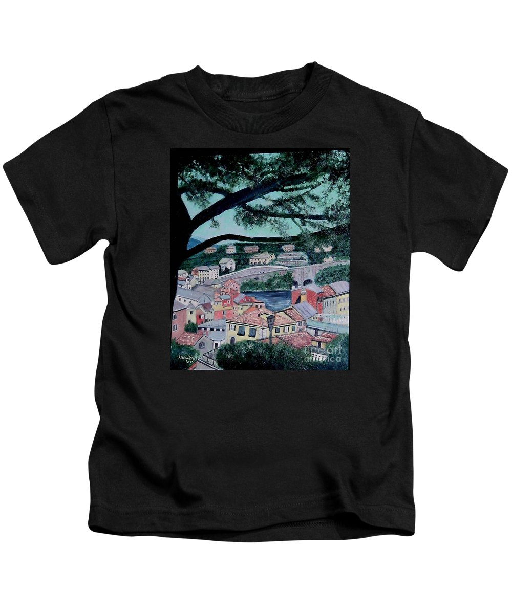 Italy Kids T-Shirt featuring the painting Sestri Levante by Laurie Morgan