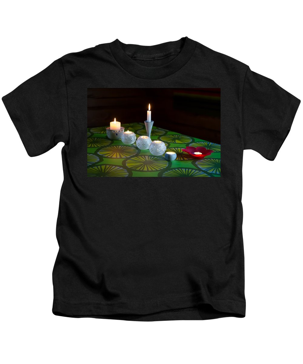 Candle Kids T-Shirt featuring the photograph Seven Candles by Ari Salmela