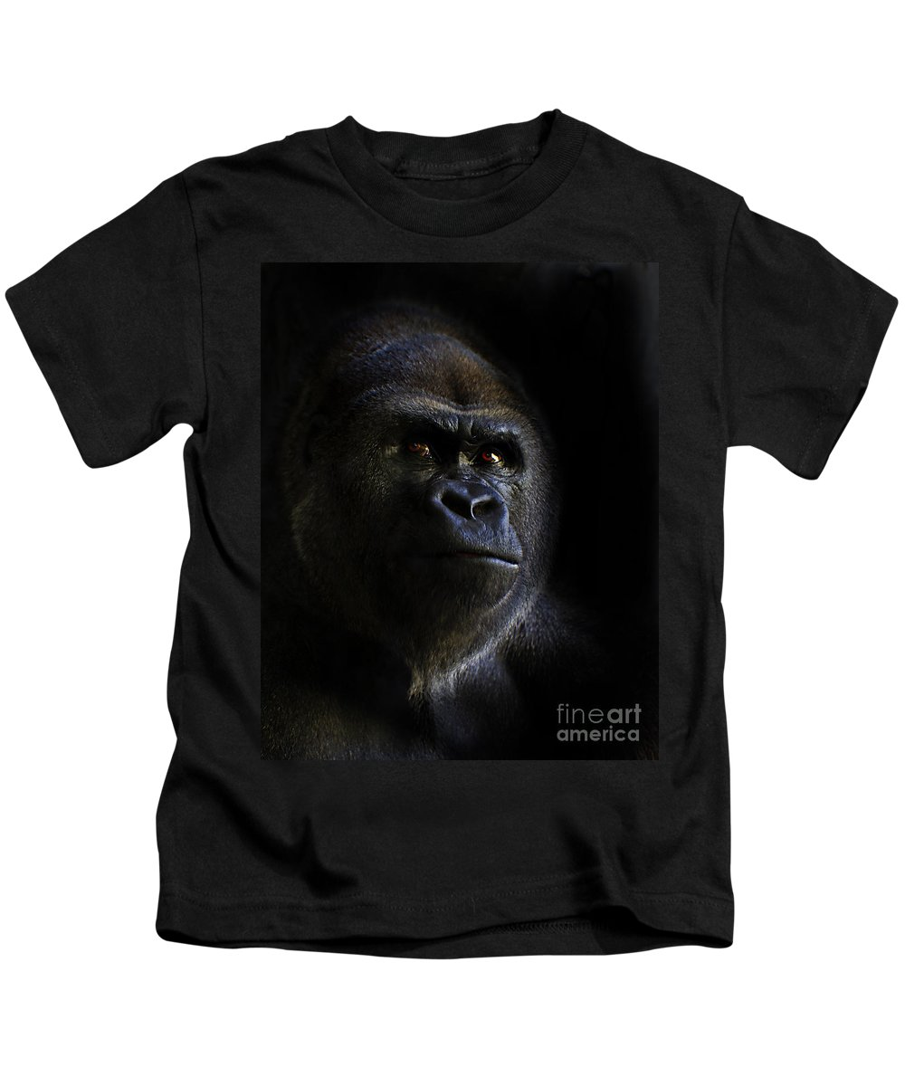 Primates Kids T-Shirt featuring the photograph Shadow Series Four by Ken Frischkorn