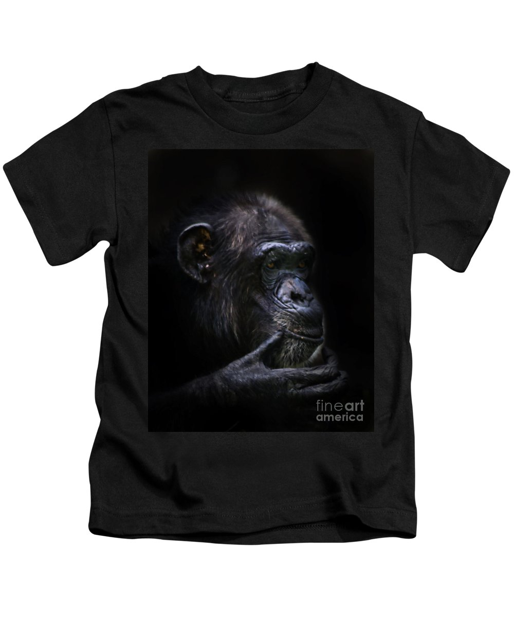 Primates Kids T-Shirt featuring the photograph Shadow Series Three by Ken Frischkorn
