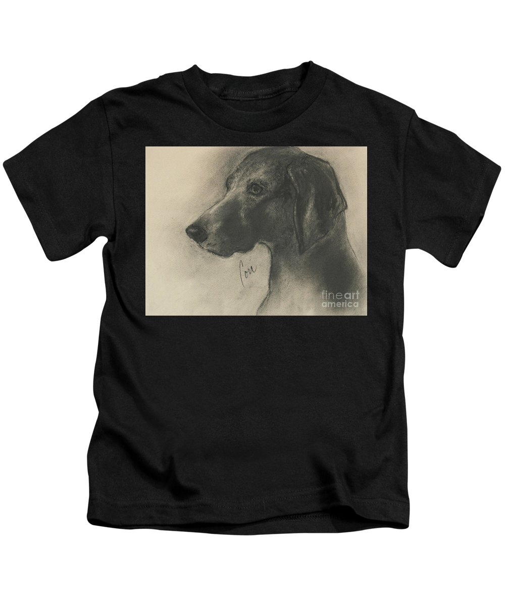 Weimaraner Kids T-Shirt featuring the drawing Shadowed Intrigue by Cori Solomon