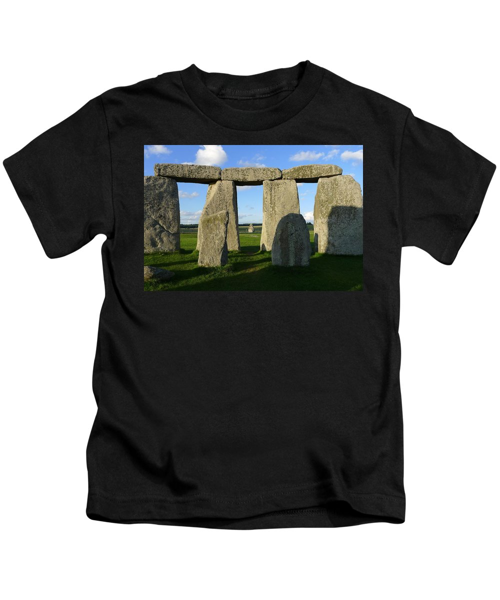 Stonehenge Kids T-Shirt featuring the photograph Shadowy Stonehenge by Denise Mazzocco