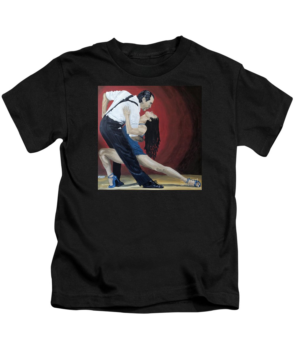 Tango Kids T-Shirt featuring the painting Shall We Tango by Hussein El Kaissy